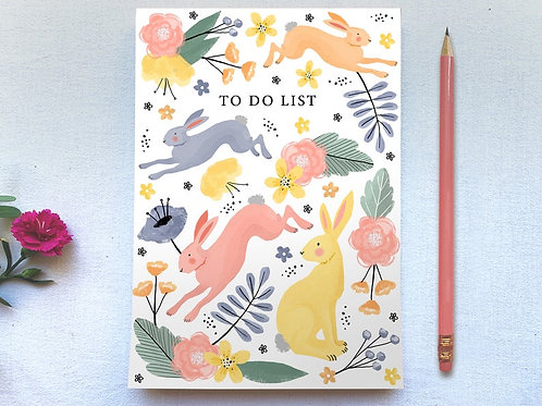 Rabbits & Wild Flowers Tear Off A5 Plain Paper Notepad - Floral Notebook
