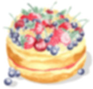 victoria sponge cake strawberries watercolour illustration painting paint jam english great british bake off samantha marando okey dokey design