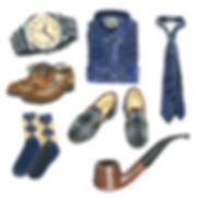 fathers day elements brogues manly man slippers tie shirt watch socks pipe acrylic paint acrylics painting illustration samantha marando okey dokey design