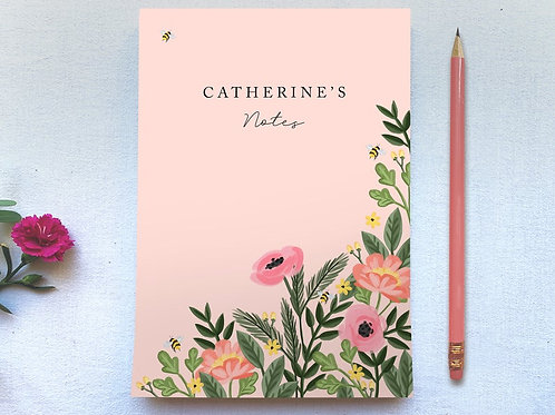 Customisable Pretty Pink Floral Tear Off A5 Plain Paper Notepad