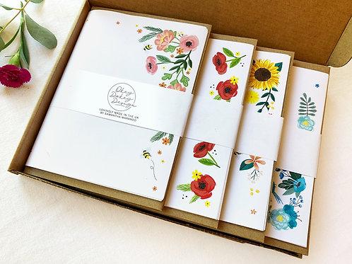 24 Sheet writing paper & 12 kraft envelopes Letter box Gift Set Floral Flowers