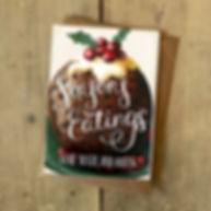 seasons eating samantha marando okey dokey design illustrator designer greeting card cards illustration pudding christmas xmas holly berries eat food
