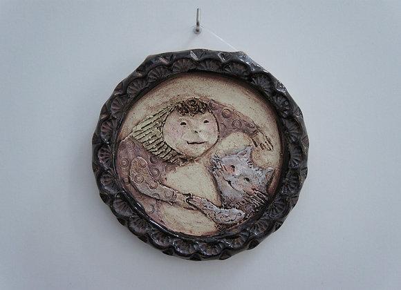 陶板「おとぎ話」猫と少女