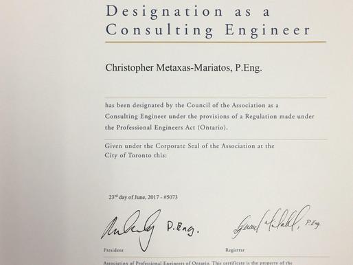 Consulting Engineer Designation Awarded!