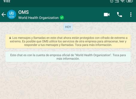 La OMS llega a WhatsApp para informarnos sobre el COVID-19.