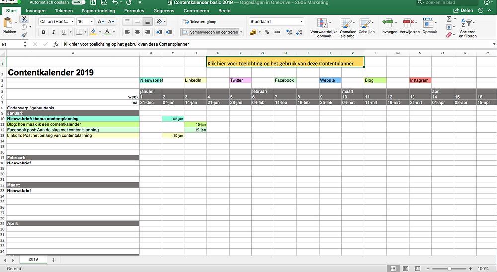 Contentplanner 2019 in Excel