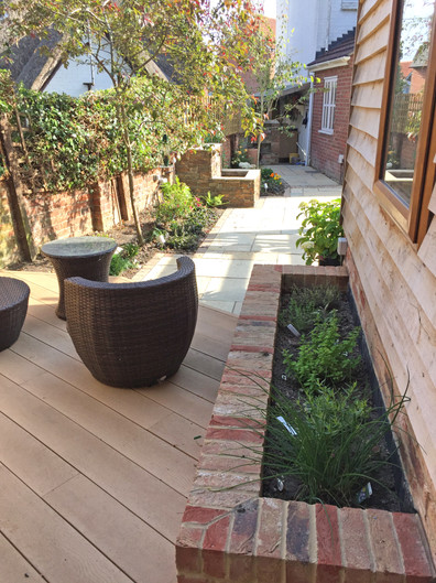 Herb planter alongside a secluded deck