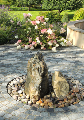 Stone water feature in a contemplative space