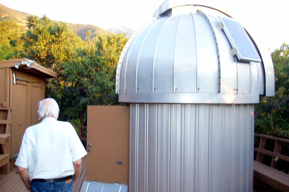 Dad at his Alpenglow Observatory, Salt Lake City, August 2016