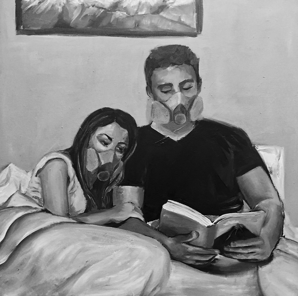 Black and white painting of a man and woman in bed with gas masks on and reading a book with a volcano on the cover