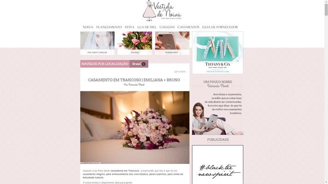 Post no site Vestida de Noiva com fotos do casamento de Emiliana e Bruno Aprá