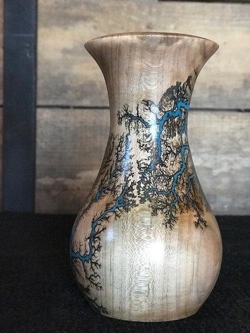 "6"" Maple vase with Lichtenberg figures and glow epoxy"