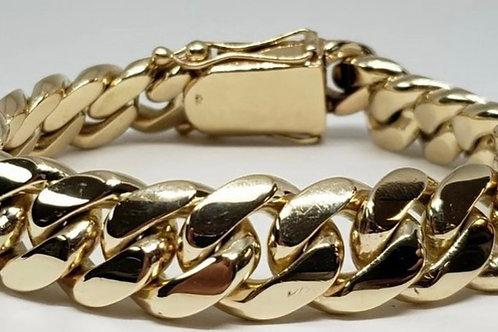 10k Yellow Gold Miami Cuban Link Solid Heavy Bracelet Hidden Clasp 146.2grams