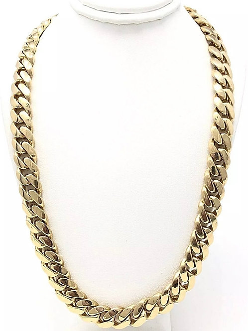 "10k Yellow Gold Solid Miami Cuban Chain 22"" 10mm 143 grams"