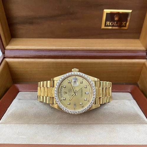 Rolex President Day Date President 18078 Bark finish Diamond Bezel Box and Paper