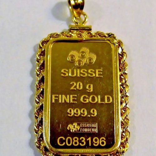 24K 20 gram gold suisse bar pendant