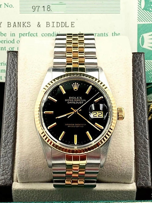Rolex Datejust 16013 Black Dial 18K Yellow Gold Stainless Steel Box Papers