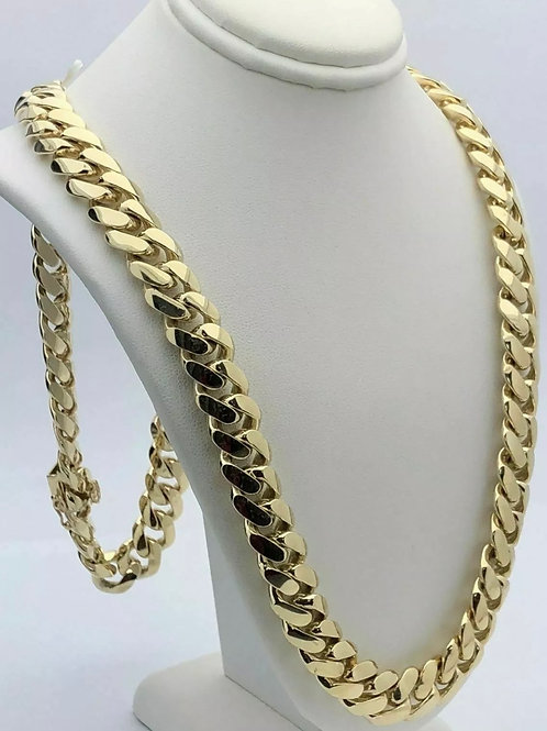14k Miami Cuban Solid Yellow Gold 260 grams 10.5mm