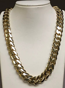 "10k yellow gold Miami Cuban chain 18"" 15.5mm."