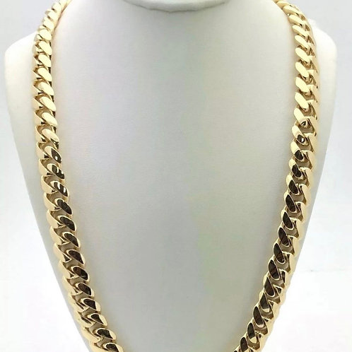 """14k Yellow Gold Solid Miami Cuban Chain 24"""" 10mm 160 grams"""