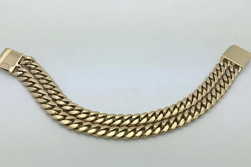14K Exclusive Solid yellow gold double Cuban link