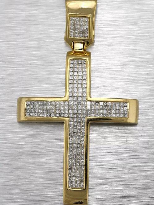 14K yellow gold 4.50 carat diamond cross
