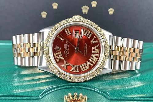Rolex Datejust 36mm 2-Tone Gold/SS Red Dial 3ct Diamonds 16013