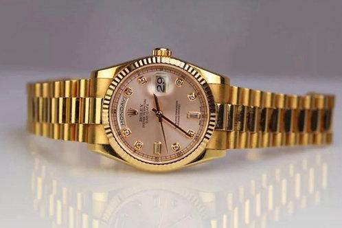 Rolex Day-Date 118235 18k Everose Gold Pink Rose Diamond Dial 36mm