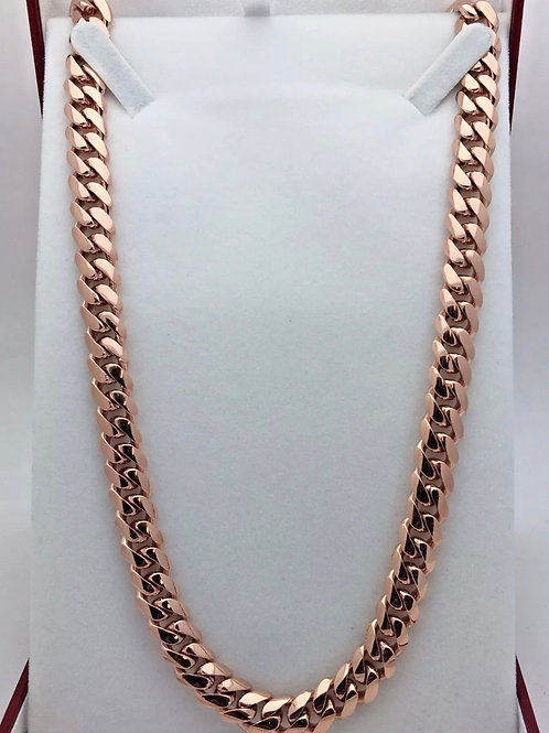 "10k Rose Gold Miami Cuban 24"" 10mm Chain."
