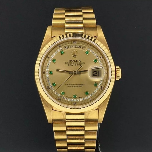 Rolex President 36mm 18k Yellow Gold Diamond/Emerald Dial 18238 Double Quickset
