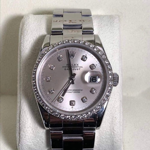 Men's Rolex datejust (1999) 36mm with custom diamonds on bezel and silver dial