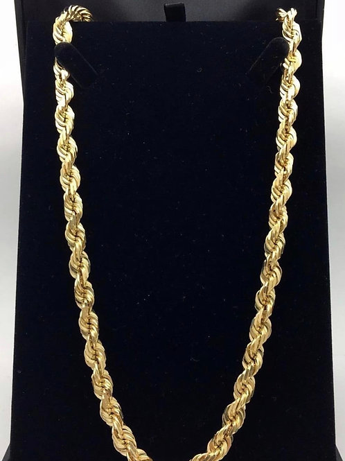 14K Rope chain 28 inch 7.5mm
