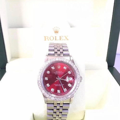 Rolex Datejust 36mm Red dial SS diamond dial and bezel