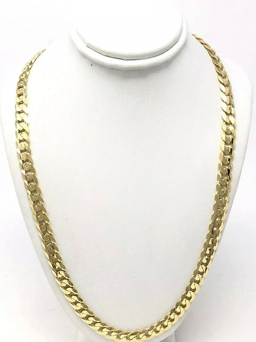 14K Solid Yellow Gold Miami Cuban 7mm. 26 inch.
