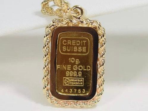 10 gram Credit Suisse 24K Gold bar pendant