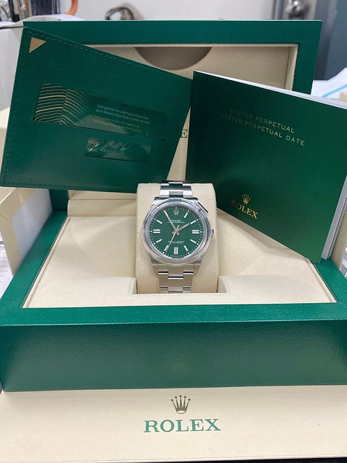 Rolex Oyster Perpetual 41mm Oyster Steel Green Dial Brand New In Box 124300