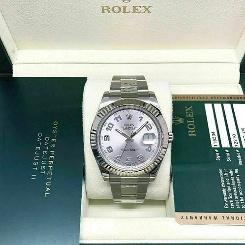 Rolex 41MM Datejust 2 18K Fluted Bezel Stainless Steel 116334 Full set