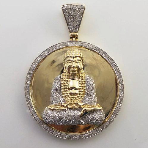 Diamond Buddha pendant 10K Yellow Gold