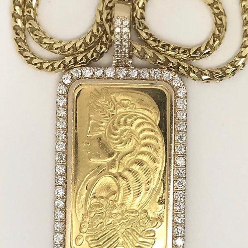 1 oz gold Suisse bar pendant 3 carats diamond