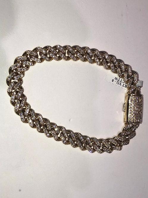 10k 4 carats yellow gold Miami Cuban diamond bracelet