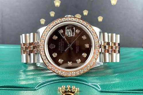 Rolex Datejust 36mm Rose Gold 3 carat bezel two tone