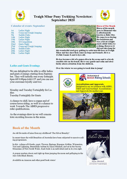 Traigh Mhor Pony Trekking Newslette Sept