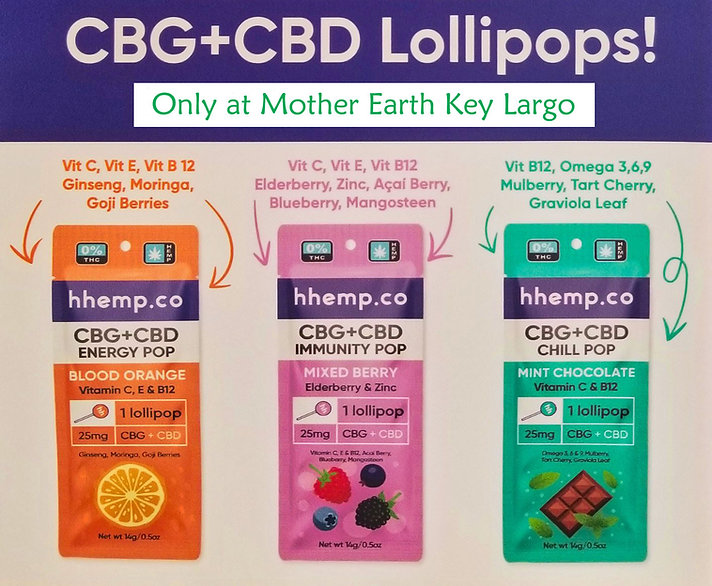CBD CBG Lollipops Mother Earth Key Largo