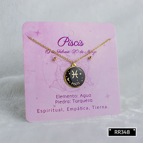 RR348 Set Topos y Collar Signo del Zodiaco-Piscis