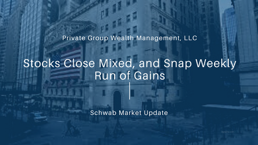 Stocks Close Mixed, and Snap Weekly Run of Gains