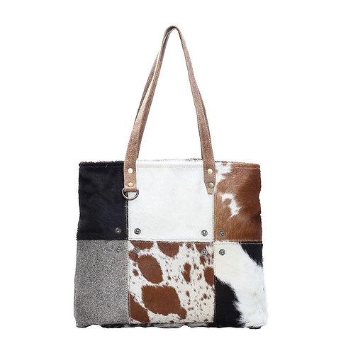 Multi Patch Cowhide Tote Bag - Myra Bag