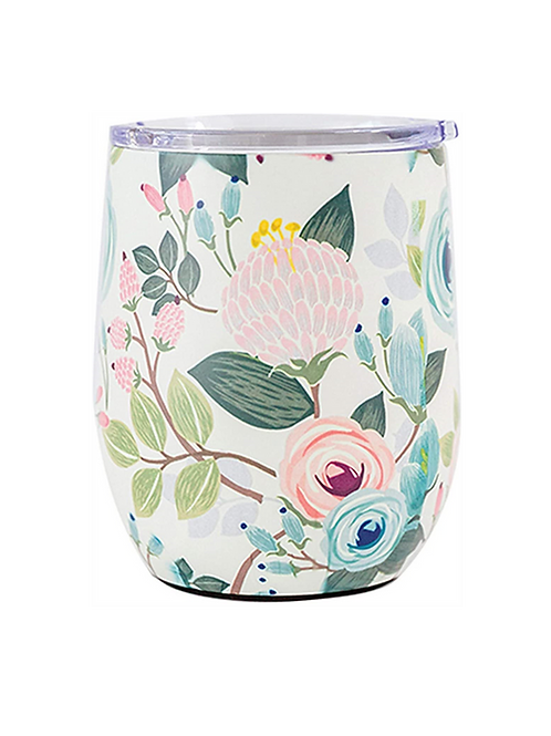 Peach Floral Wine Glass - Mary Square