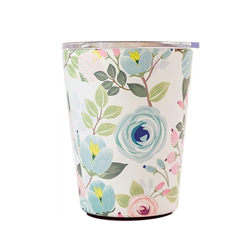 Peach Floral Coffee Tumbler - Mary Square