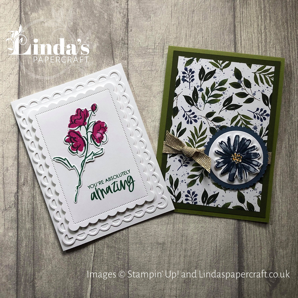 Picture of 2 different hand made cards made using the Colour and Contour Set from Stampin' Up!