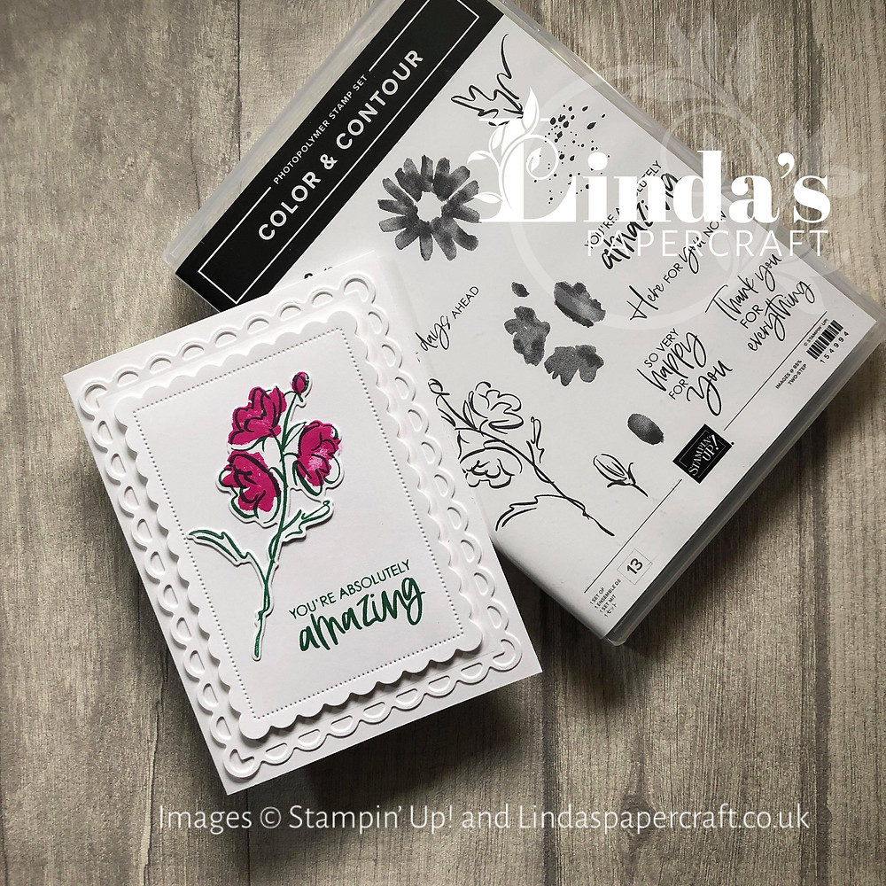 Hand made card together with the Color and Contour stamp set from Stampin' Up! used to make the card.